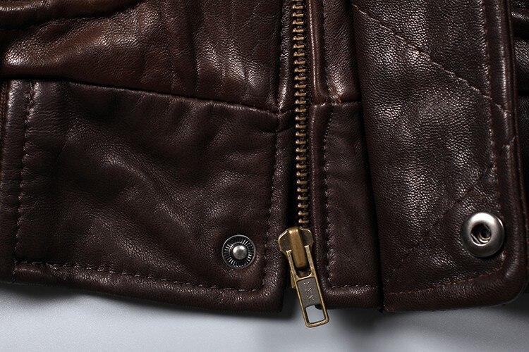 Avirex Fly Air Force Flight Jacket Fur Collar Genuine Leather Jacket Men Black Brown Sheepskin Coat Winter Bomber Jacket Male