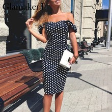 Glamaker Polk dot vintage bodycon maxi dress Women sexy off shoulder summer midi dress Female push up party club dress vestidos(China)