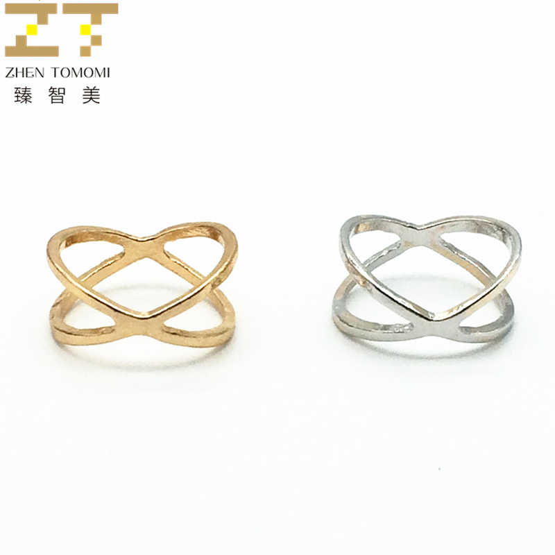 2018 New Arrivals Hot Fashion women's ring Gold Color And Silver Plated X Cross Stereo Surround Hollow Ring For Women Jewelry