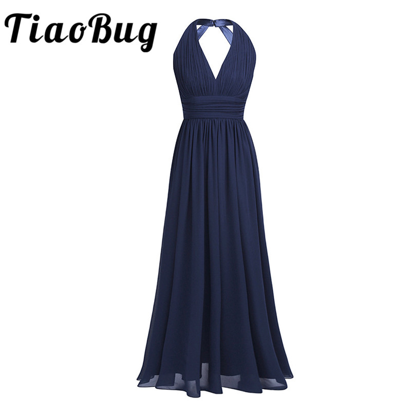 2017 Black Navy Blue Teal Burgundy Long Bridesmaid Dresses 5 Colors Plus Size Prom Women Ladies Chiffon Halter V Neck Dress
