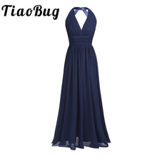 2017 Black Navy Blue Teal Burgundy Plus Size Long Bridesmaid Dresses 5 Colors Prom Women Ladies Chiffon Halter V Neck Dress