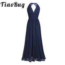 2020 Black Navy Blue Teal Burgundy Long Bridesmaid Dresses 5 Colors Plus Size Prom Gown Women Ladies Chiffon Halter V Neck Robe