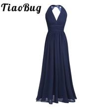 2020 noir bleu marine sarcelle bordeaux longues robes de demoiselle dhonneur 5 couleurs grande taille Robe de bal femmes dames en mousseline de soie licou col en V Robe