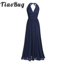 2020 schwarz Navy Blau Teal Burgund Lange Brautjungfer Kleider 5 Farben Plus Größe Abendkleid Frauen Damen Chiffon Halter V neck Robe