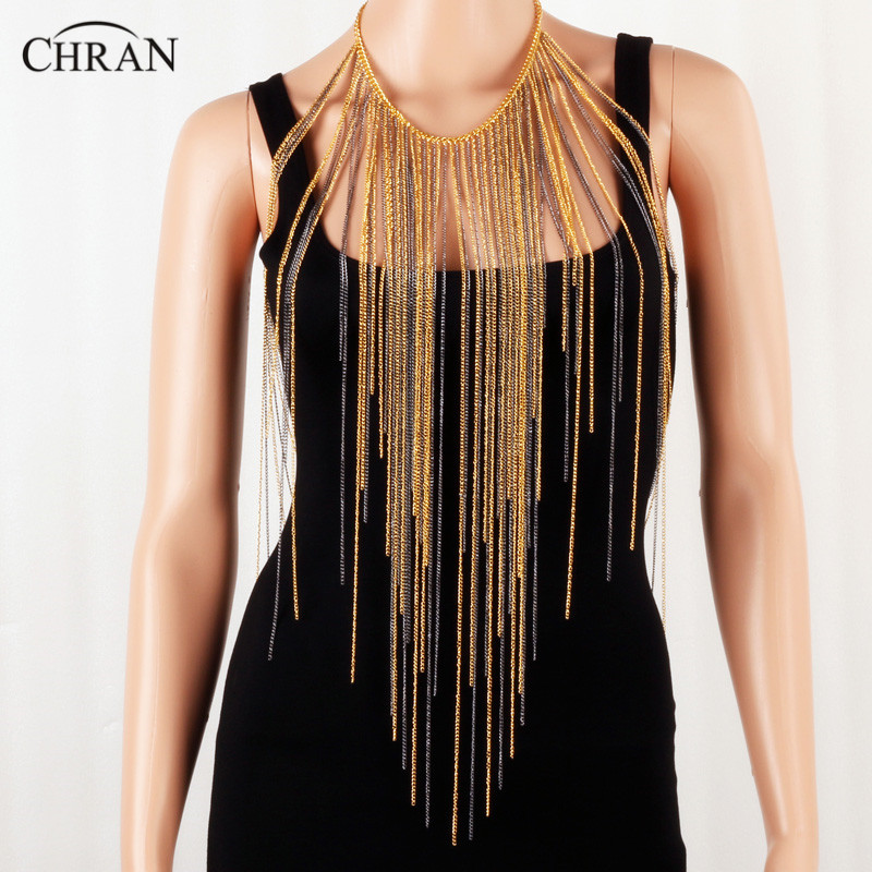 Chran Chainmail Bra Rave Top Women Harness Tassel Necklaces Beach Chains EDC Festvial Wear Coachella Ibiza Sonar Jewelry CRBJ176