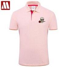 cfe1f2e4b8512f Chegada nova Moda Rose Crânios Bordado Camisetas Contton Camisa Pólo de Manga  Curta dos homens de