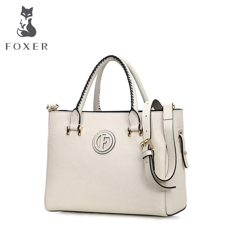 FOXER 2016 Hot Sale Women Tote Leather Handbag Shoulder Bag Ladies Messenger Satchel Purse