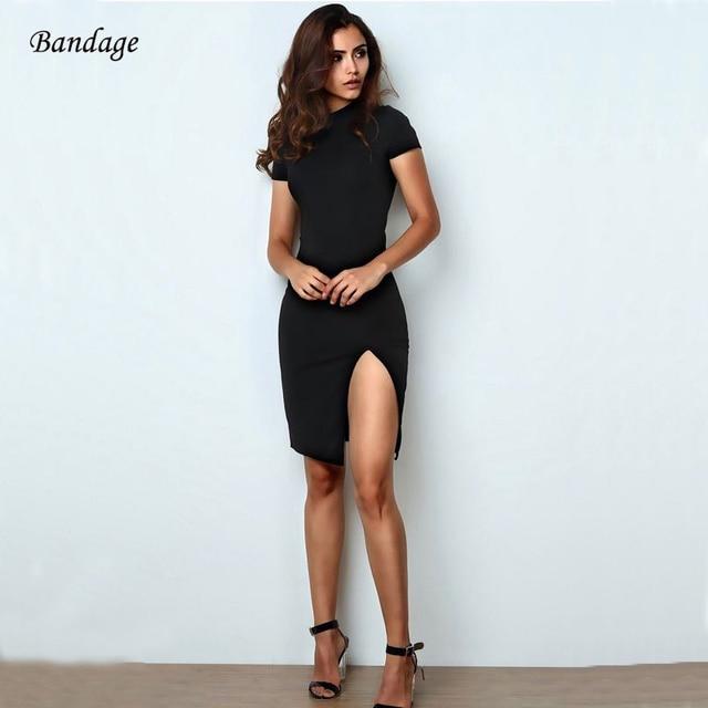 e55e3574e6 Black Round Neck Women Sexy Bandage Dress Short Sleeve Slit Back Hollow Up  Dresses Party Nightclub High Quality Vestidos Lace Up