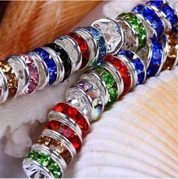 Wholesale 50pcs 6MM Metal Silver Plated Crystal Rhinestone Rondelle Spacer Beads 1