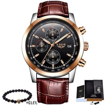 Mens Watches Top Brand Luxury Leather Quartz Watch Men Military Sport waterproof Gold Watch 1