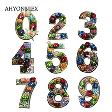 AHYONNIEX 1 PC Handmade Beads Sequined Big Arabic numbers patches sew on Lace clothes stickers DIY Clothing Accessories