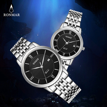 2017 New Lovers' Luxury Watches Gift Watch RONMAR RM8009 Men's Women's Wristwatch Men Women Quartz Watch Relogio Masculino