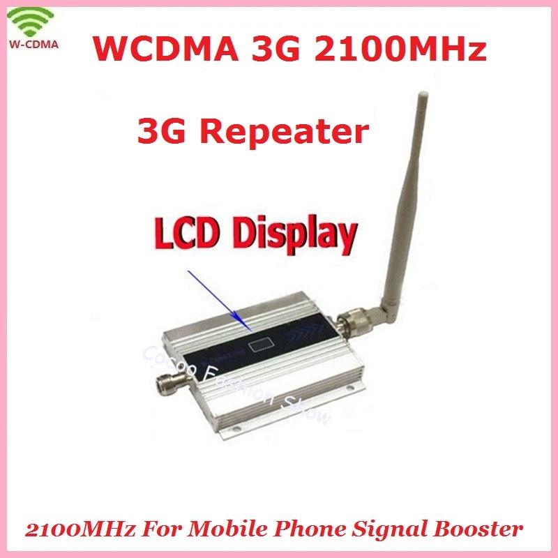 ¡ Caliente! Teléfono Celular móvil WCDMA 2100 mhz 3G Amplificador de Señal Con la Exhibición del LCD 3G Celular amplificador de Señal del Repetidor Del Amplificador + Antena de interior