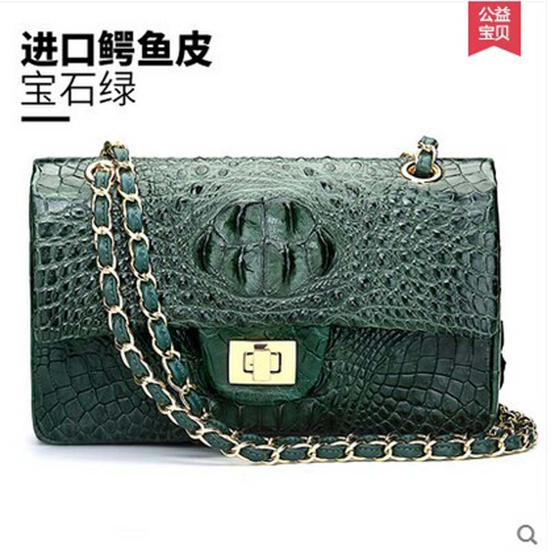 hlt thai crocodile leather women chain bag female women flap 2017 new tide single shoulder bag fashionable small square bag yuanyuqiiandian thai crocodile female bag imported crocodile leather single shoulder bag ladies fashion women long chain bag