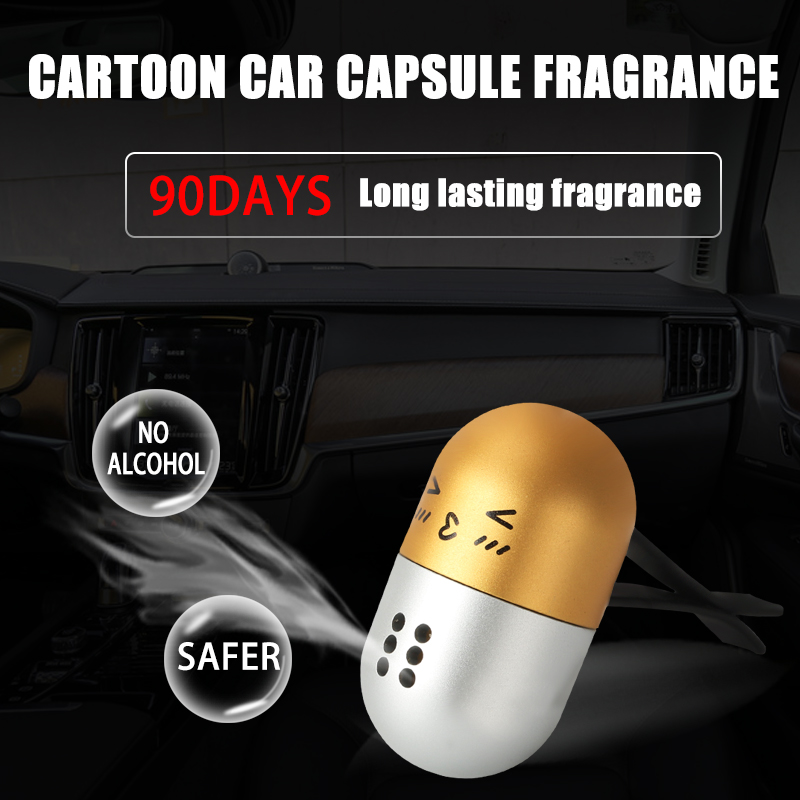 Car Air Freshener Auto outlet Cartoon emoticon capsule Perfume Vent Air freshener in the Car Air Conditioning Clip solid perfume in Ornaments from Automobiles Motorcycles