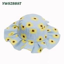 New Spring Summer Girls Sun Hats Colorful Flowers Children Cotton Bucket Autumn Sunscreen Cap Kids Fisherman Hat
