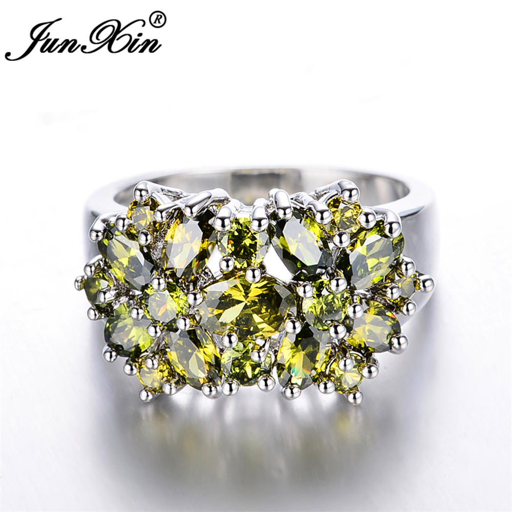 rings cocktail gold gemstone quartz diamond ring peridot wedding ladies