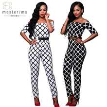 New ladies casual sexy Siamese suit round neck Slim printing stitching fit Qiaotong shorts do not include belt trousers