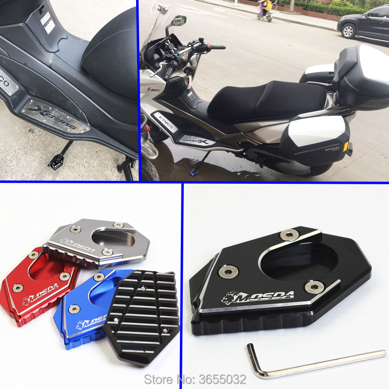 mosda Motorcycle CNC Aluminum Side Stand Enlarger Plate Kickstand Enlarge Extension For KYMCO Downtown 300i Downtown 350i 300 image