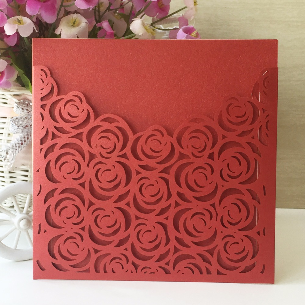 50pcs Glossy Paper Red Rose Wedding Invitations Decoration Place ...