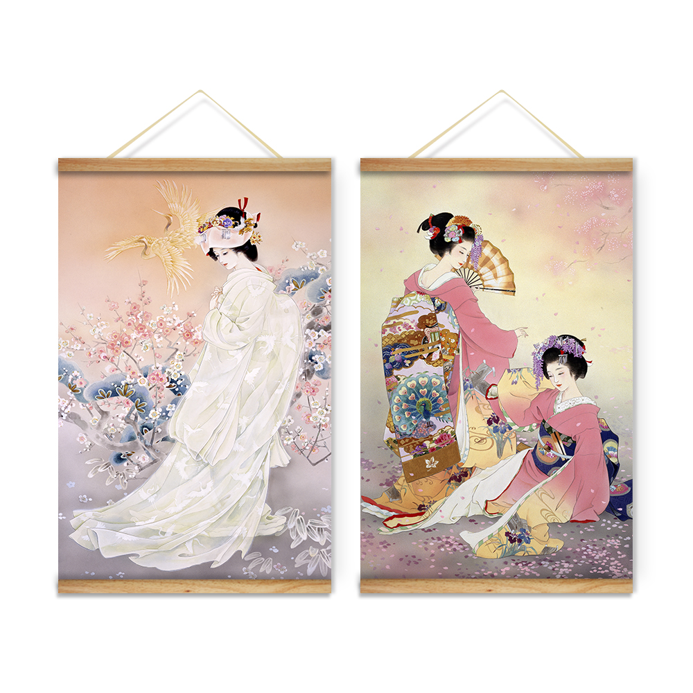 2 pieces japanese style kimono ladies decoration wall art. Black Bedroom Furniture Sets. Home Design Ideas