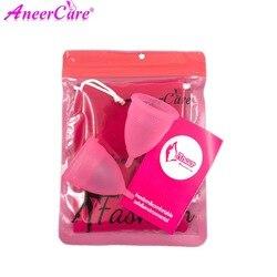 Coletor Menstruations 2Pcs Medical Grade Silikon Hygiene Menstruations Cups Dame Menstruations Cup Mestrual Aneercare Coupe Menstruell S + L