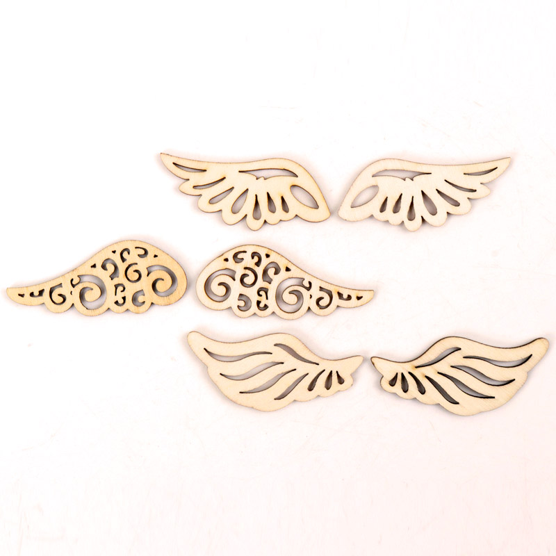 Wooden Cute Wing Shape Arts Painting Scrapbooking Embellishments Craft Handmade Home Decoration Accessories DIY 57mm 12pcs MZ259