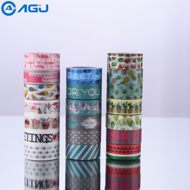 AAGU New Arrival 15MM*5M 20PCS/Lot Pineapple Flamingo  Watermelon Washi Tape Adhesive Masking Tape DIY  Decorative Paper Tape new design retro style ship car travel old style vintage diy decorative washi tape diary deco masking tape scrapbooking stickers