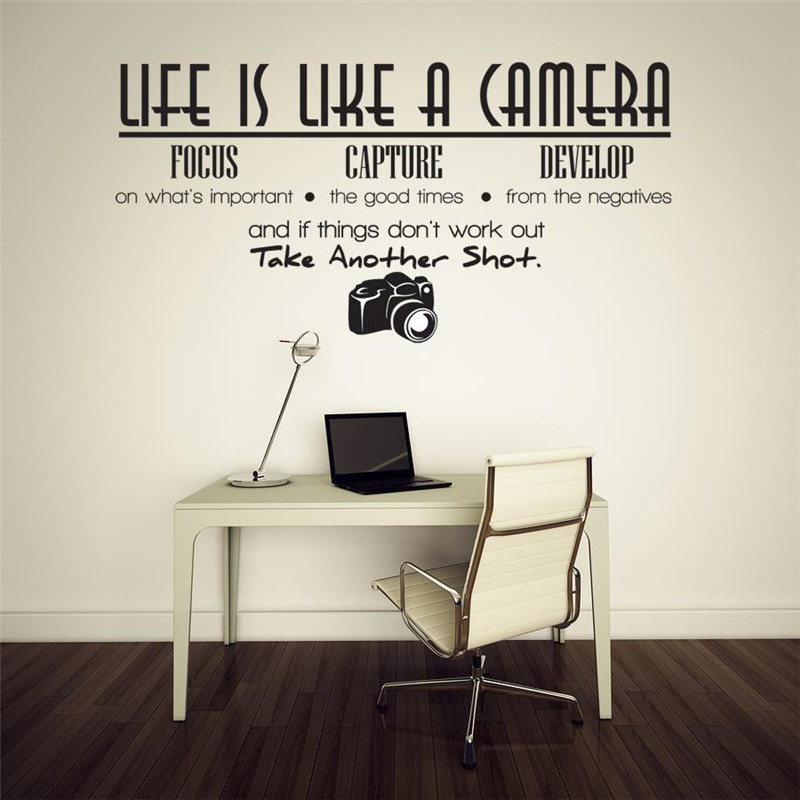 Free Shipping Removable Life Is Like A Camera Quote Wall Stickers Decals Office Study Decoration Mural DIY