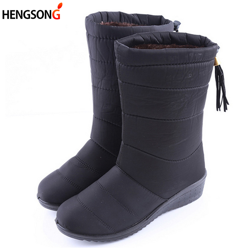 New Winter Women Boots Mid-Calf Down Boots Female Waterproof Ladies Snow Boots Girls Winter Shoes Woman Plush Insole Botas Mujer ekoak new 2017 winter boots fashion women boots warm plush mid calf boots ladies platform shoes woman rubber leather snow boots