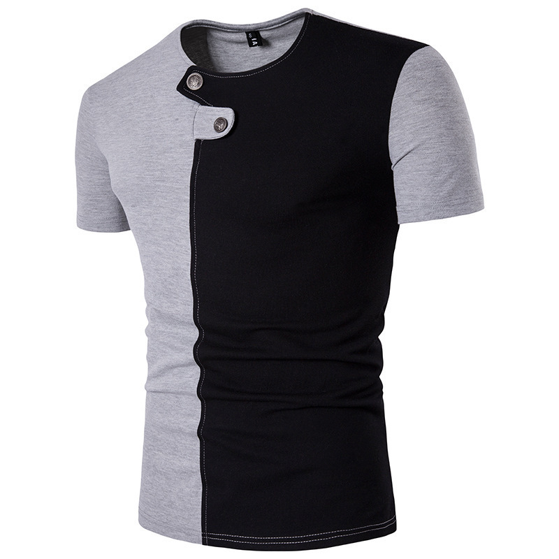 Summer Men's Short Sleeved T-shirts Personalized Buttons Round Neck Double Color Stitching tshirt fashion mens clothing