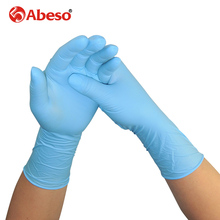 ABESO 100pcs/box NBR latex 12inch lengthen disposable gloves for food home cleaning Acid Alkali resistance antiskid golves A7111