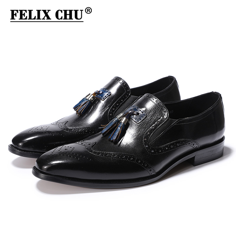 FELIX CHU Genuine Cow Leather Men Black Brogue Dress Shoes Slip On Pointed Toe Tassel Loafer Male Footwear Size 39-46 #H2-K28 hot sale mens genuine leather cow lace up male formal shoes dress shoes pointed toe footwear multi color plus size 37 44 yellow