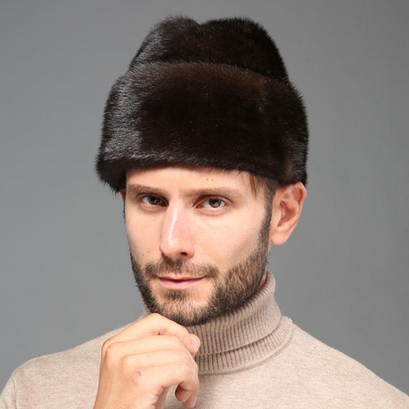 Zimní čepice Men Mink NOVINKA Přírodní barva Kožešinový klobouk Sibiřský styl Kožešina Lei Feng Hat Zimní teplé zhušťující Mink Hat pro muže