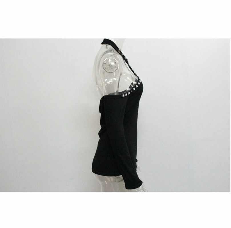 Осенняя футболка Femme, Сексуальная футболка с открытой спиной, женская футболка с открытыми плечами, женская футболка, черная футболка с длинным рукавом, женская футболка, Топ