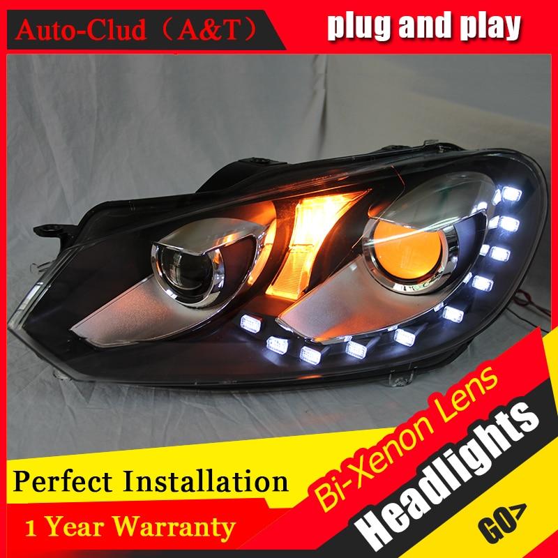 Auto Clud Car Styling for VW Golf 6 Headlights Volks Wagen Golf Mk6 LED Headlight DRL Bi Xenon Lens High Low Beam Parking Fog La