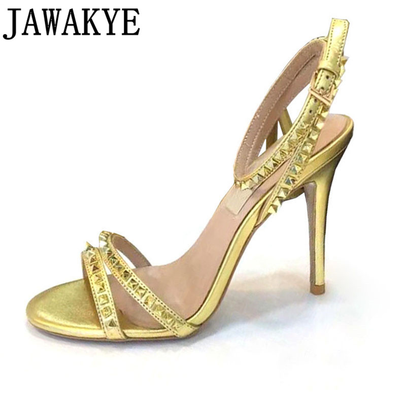 Spiked rivets Studded Sandals Women Buckle Strap 10cm High Heel summer Shoes Woman 2019 Sexy Gladiator