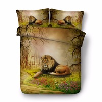 animal bed cover sets 3D lion conforter set nature bedroom decor egyptian cotton bedding queen size bedspread adult home textile