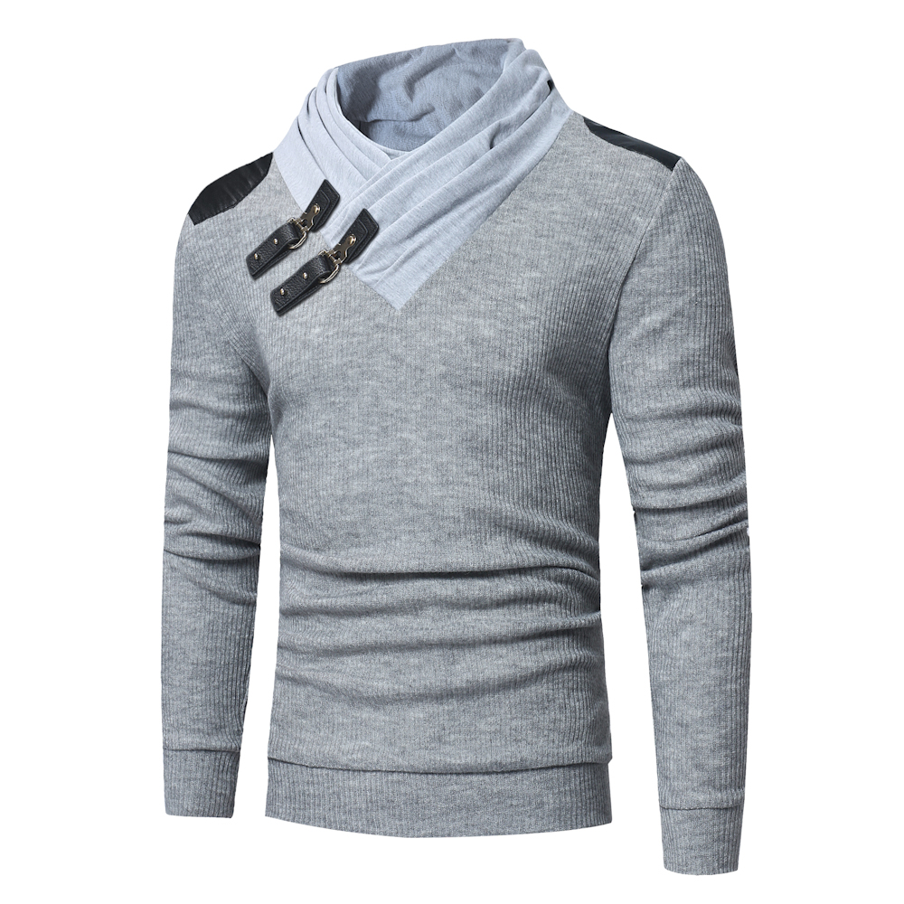 2019 New Men's Sweaters Fashion Solid Color Pile Collar Leather Buckle Stitching Long-sleeved Slim Sweater Men's Knit Pullover