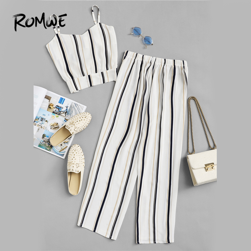 ROMWE Knot Striped Cami Top With Pants Summer Spaghetti Strap Sleeveless Wide Leg 2019 Sexy Women Casual Female Two Piece