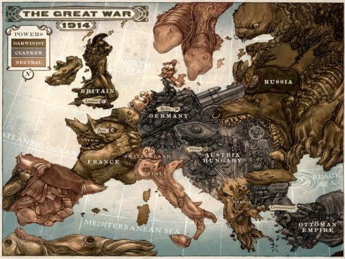 4019 karikatuur kaart van europa steampunk art muursticker art poster voor interieur zijden canvas schilderij in 4019 karikatuur kaart van europa steampunk