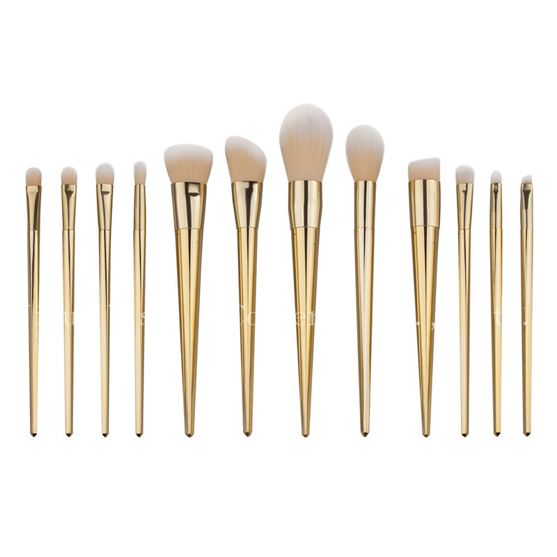 Wholesale 50set Cosmetic Gold Makeup Brushes Set Foundation Blush Contour Eyebrow Lip Brush Synthetic Hair Make Up Tools 7pcs makeup brushes professional fashion mermaid makeup brush synthetic hair eyebrow eyeliner blush cosmetic