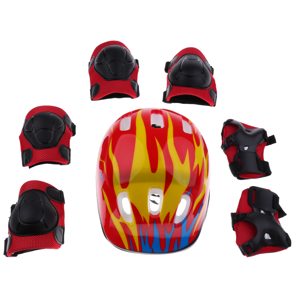 7 Pieces 5 Designs Kids Children Roller Skating Scooter Bicycle Helmet Lot Knee Elbow Wrist Pad Guard Protective Gears Set S M