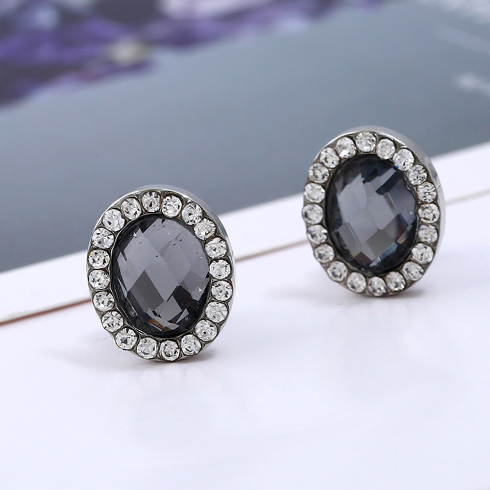 Crystal Earrings For Women Vintage Geometric Clip Earing Without Piercing Big Oval Ear Clips Non Pierced Cuff Earring(China)
