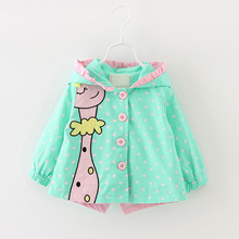 New Autumn Kids Girls Coats Clothing Baby Girls Fashion Cartoon Dots Hooded Trench Coats 6 24