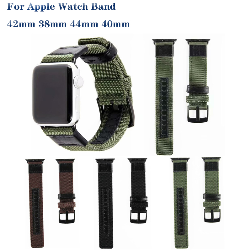 Nylon Woven Genuine Leather Sport Strap For Apple Watch Band 4 44/40mm Breathable Bracelet Band For Iwatch Series 3 2 1 42/38mm