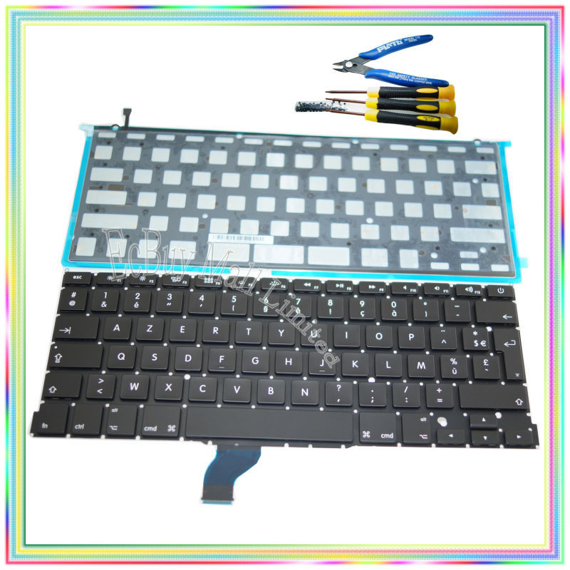 Brand new AZERTY FR French France Keyboard with Backlight keyboard screws screwdriver tools for Macbook Retina