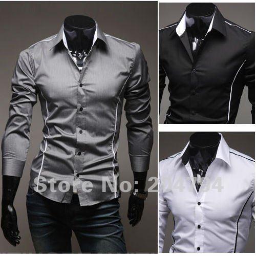 79 бесплатная доставка новых людей рубашки свободного покроя тонкий стильный мужские рубашки платья цвета серый, черный, белый сша szie установки хѕ, s м