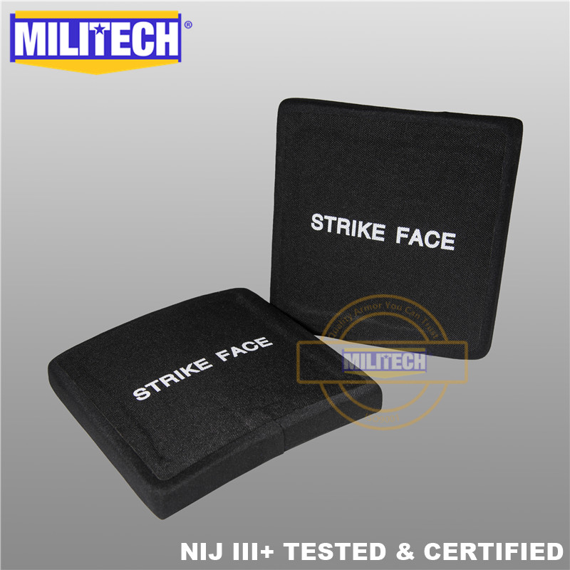 AK47 & SS109 & M80 6'' X 6''  SAPI Ballistic Plate NIJ Level III+ 3+ Bulletproof Side Panel Two PCS Stand Alone ESAPI--MILITECH