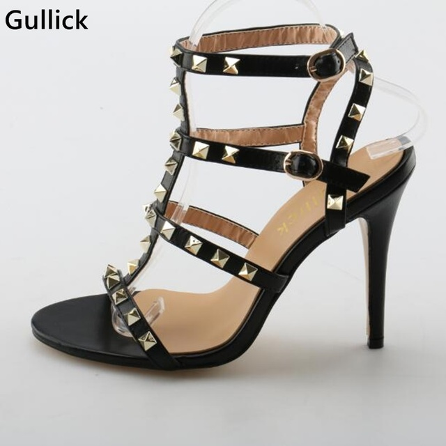 a8abf6342fb US $56.1 49% OFF Gullick Golden Rivets Studded Peep Toe Woman Thin High  Heels Sandal Sexy Strappy T Strap Stiletto Party Dress Shoe Cheap Price-in  ...